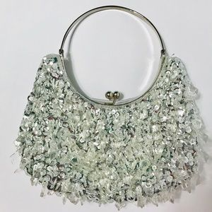 Silver bead and sequins purse with metal handle